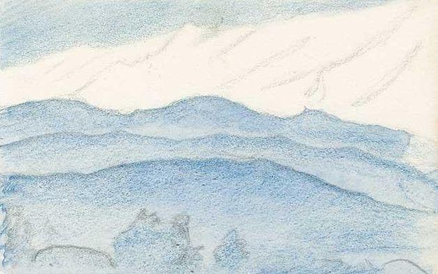 Outline of the mountain scenery (Gulmarg, Kashmir). Roerich N.K. (Part 3)