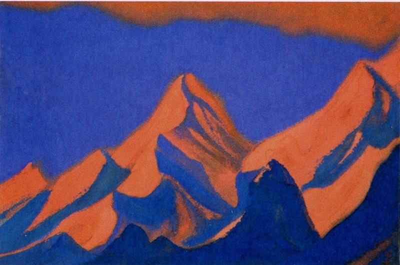 Burning peaks against the evening sky. Roerich N.K. (Part 3)