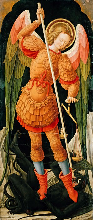 Bartolommeo Vivarini (1431-1499) - The Archangel Michael with the soul balance. Part 1