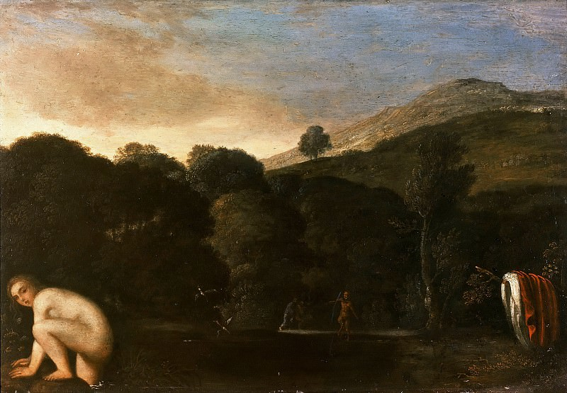 Adam Elsheimer (1578-1610) - Landscape with bathing nymph. Part 1