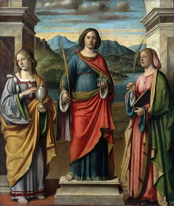 Giovanni Batista Cima (c.1459-1517-18) - The St. Lucia, Mary Magdalene and Catherine. Part 1