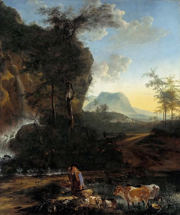 Пейнакер, Адам (1622-1673) - Горный пейзаж с водопадом. Часть 1