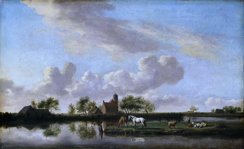 Adriaen van de Velde (1636-1672) - River Landscape. Part 1