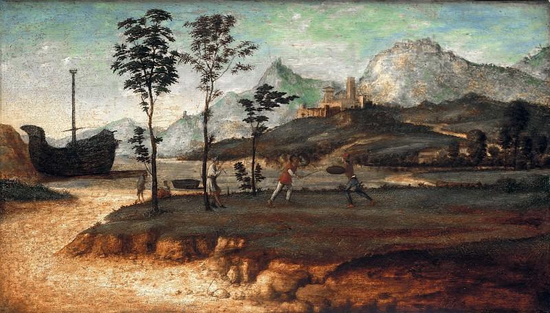 Giovanni Batista Cima (c.1459-1517-18) - Coastal landscape with two fighting men. Part 1