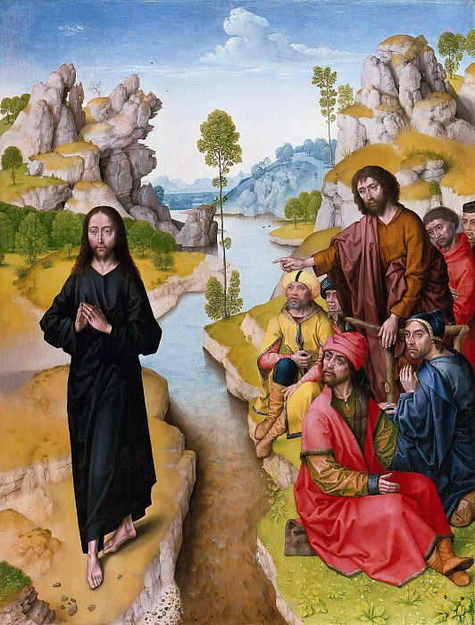 Dieric Bouts (after) - The preaching of John the Baptist. Part 1