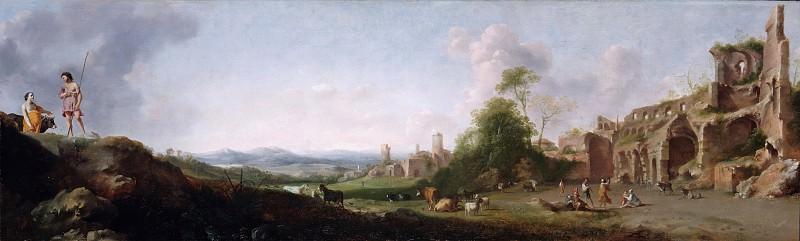 Dirck van der Lisse (1607-1669) - Landscape with shepherds dancing. Part 1