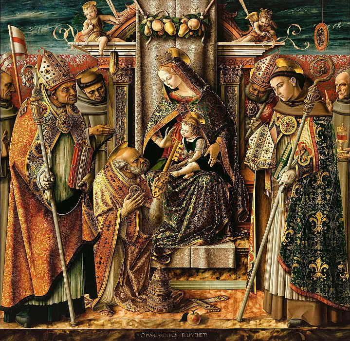 Carlo Crivelli (1430-35-1495) - The Virgin and Child Enthroned, handing over the keys to the Apostle. Part 1