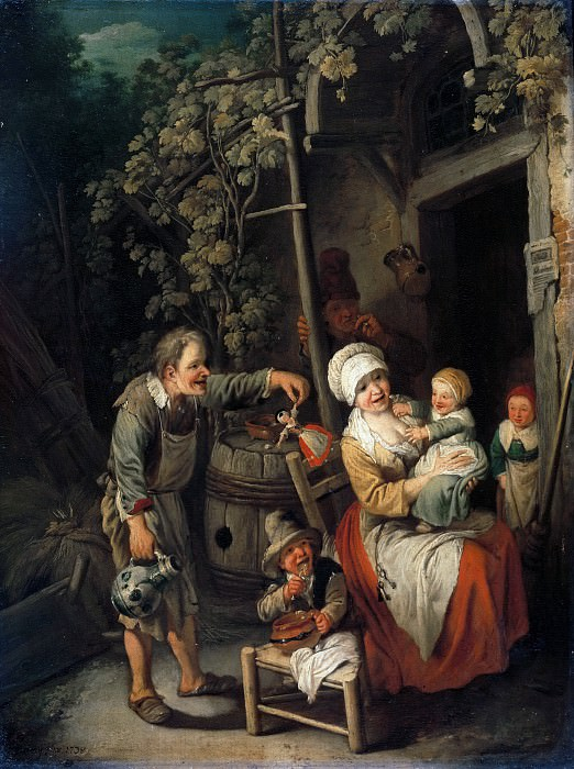 Christian Wilhelm Ernst Dietrich (1712-1774) - Peasant family in front of their house. Part 1