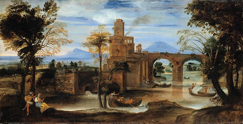 Annibale Carracci (1560-1609) - Roman river landscape with castle and bridge. Part 1
