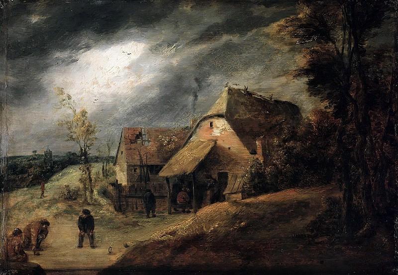 Брауэр, Адриан (1605-06-1638) - Пейзаж с игроками в шары. Часть 1