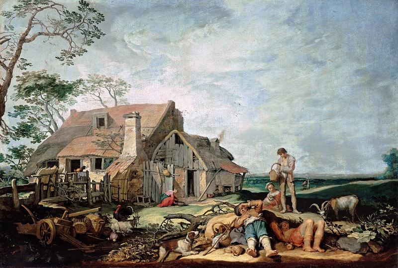 Блумарт, Абрахам (1566-1651) - Пейзаж с крестьянами и Товией с ангелом. Часть 1