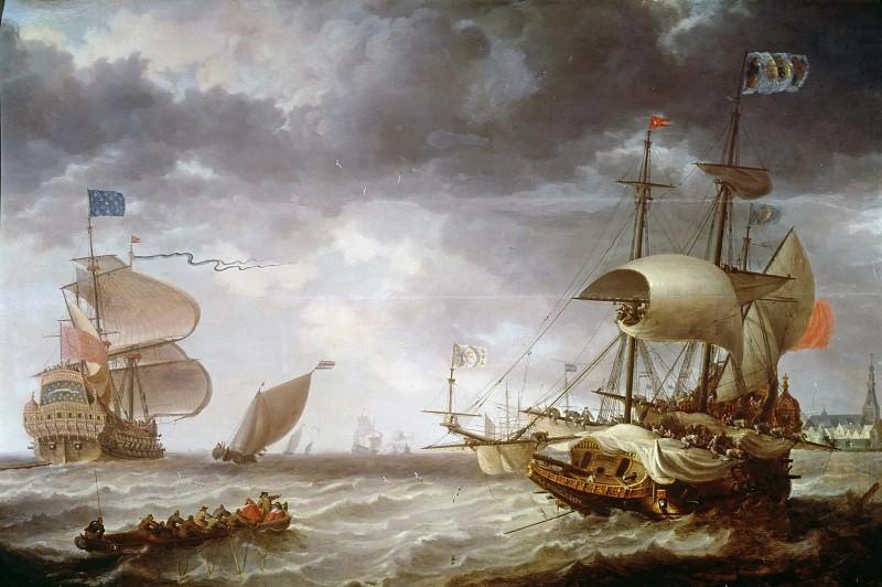 Bonaventura Peeters I (1614-1652) - Warships on a choppy sea. Part 1