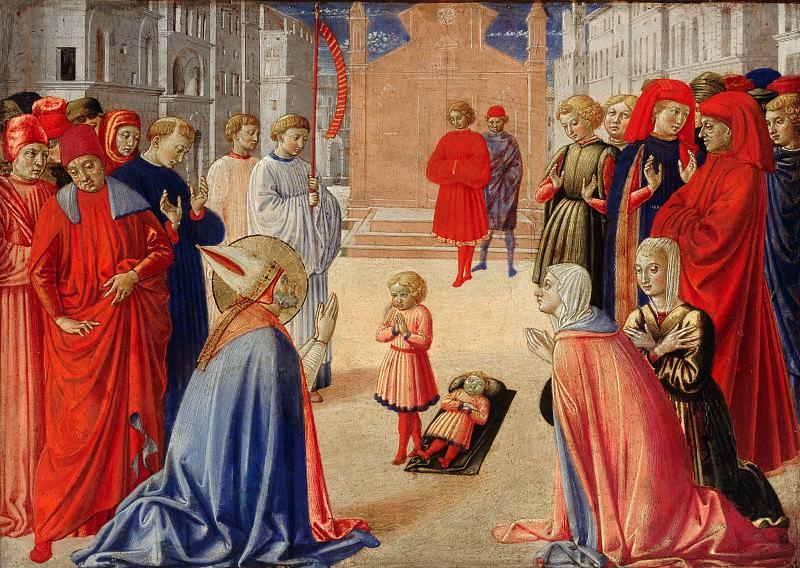 Benozzo Gozzoli (c.1420-1497) - Saint Zenobius brings a dead boy. Part 1