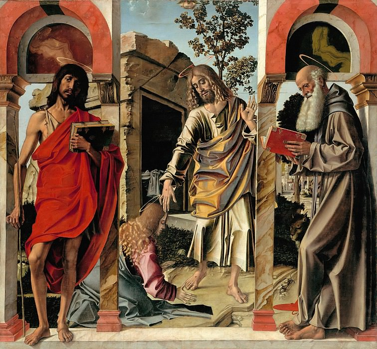 Bartolomeo Montagna (1449-50-1523) - The Risen Christ with Mary Magdalene and St. John the Baptist and Saint Jerome. Part 1