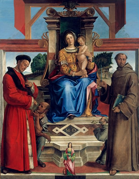 Bartolomeo Montagna (1449-50-1523) - Enthroned The Virgin and Child, St. Homobonus, St. Francis of Assisi. Part 1