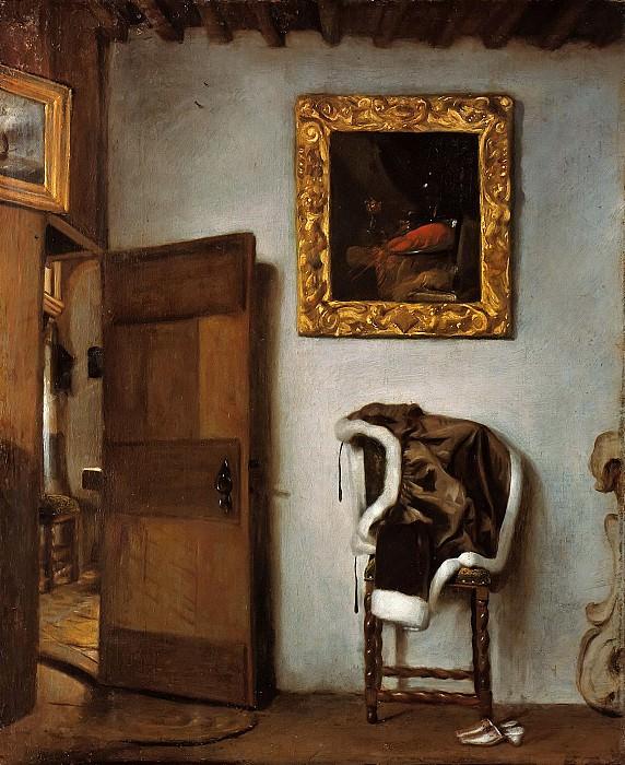 Бисхоп, Корнелис (1630-1674) - Интерьер комнаты с курткой на стуле. Часть 1