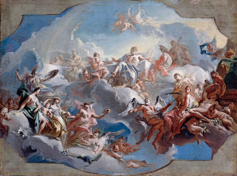 Carlo Carlone (1686-1775) - The departure of the goddesses Juno, Venus and Minerva, led by Mercury, the Judgment of Paris. Part 1