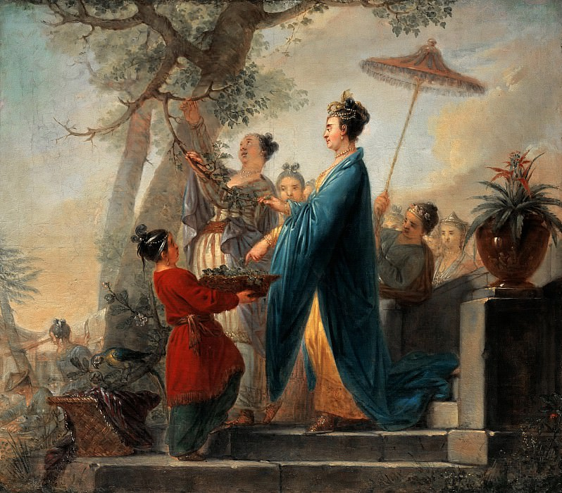 Christian Bernhard Rode (1725-1797) - The Empress of China while picking mulberry leaves. Part 1