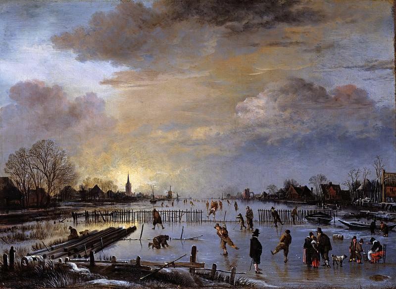 Нер, Арт ван дер (1603-04-1677) - Зимний пейзаж с конькобежцами на закате дня. Часть 1
