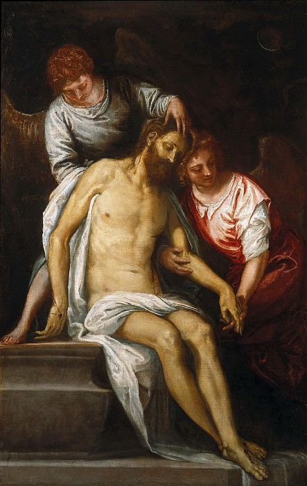 Veronese (Caliari, Paolo) (1528-1588) - The Dead Christ, two mourning angels supported against. Part 1