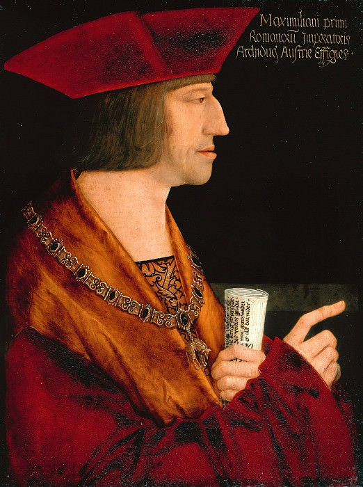 Bernhard Strigel (1460-61-1528) - Emperor Maximilian I with a scroll. Part 1