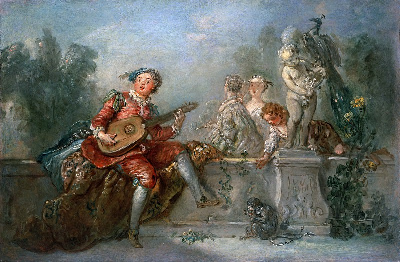 Antoine Pesne (1683-1757) - Lute player with society in a park. Part 1