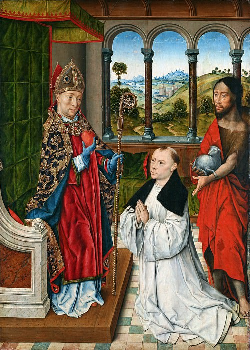 Aelbrecht Bouts (c.1455-1549) - St. Augustine and St. John the Baptist with a donor. Part 1