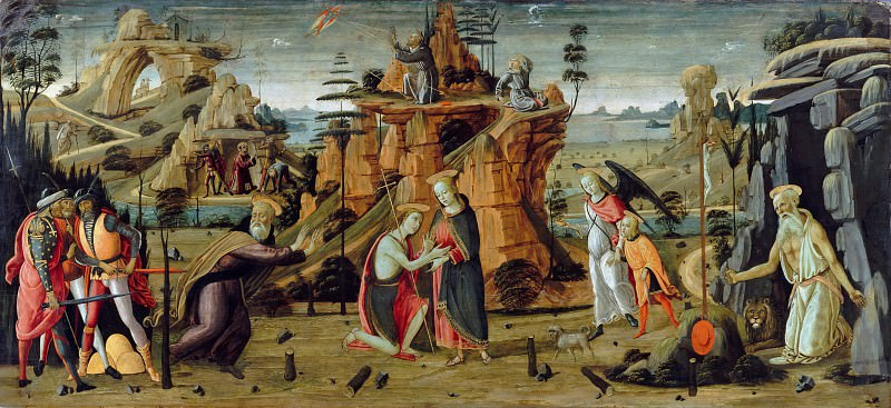 Jacopo del Sellaio (1441-42-1493) - Landscape with biblical scenes and scenes from legends of the saints. Part 1