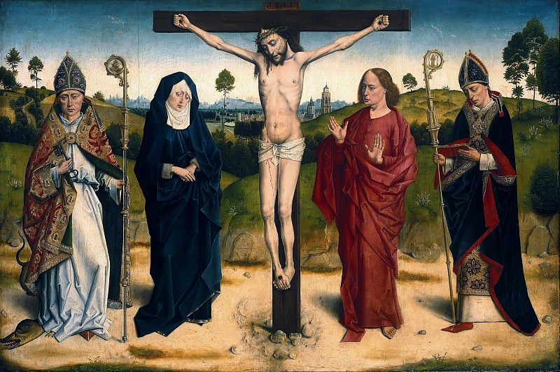 Dieric Bouts (after) - Christ on the Cross Between Mary and John, Adolphus and Ambrose. Part 1