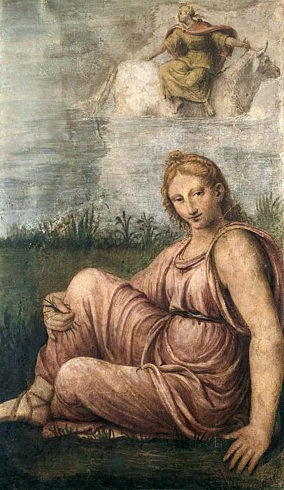 Bernardino Luini (1480-1532) - A companion Europe sitting in a meadow. Part 1