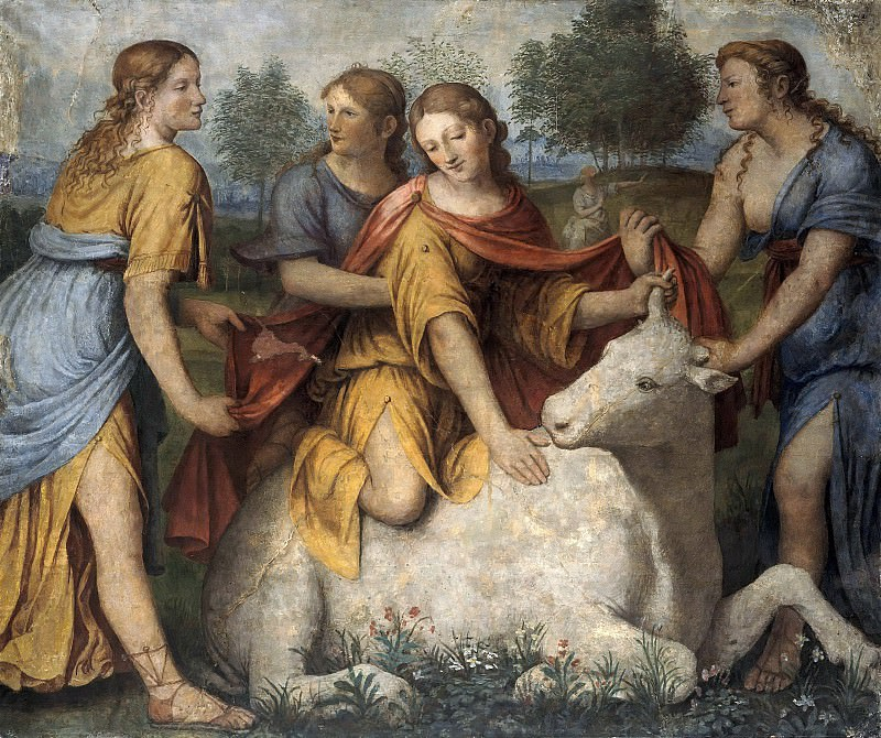 Bernardino Luini (1480-1532) - The Myth of Europe - Europe mounts the bull. Part 1