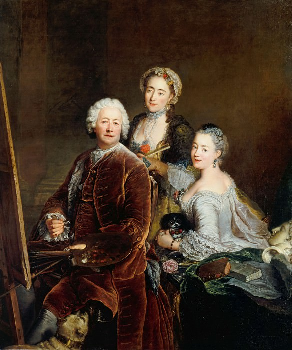 Antoine Pesne (1683-1757) - Self-Portrait with the daughters Henriette and Marie front of the easel. Part 1