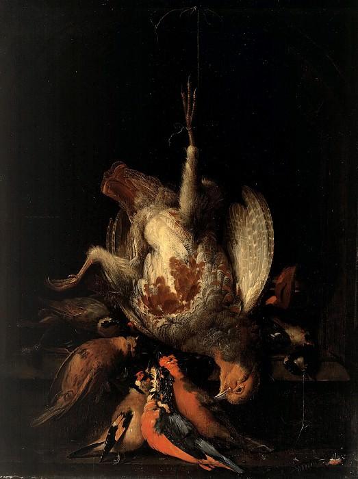 Abraham Mignon (1640-1679) - Still Life with Dead Partridge and birds in a stone niche. Part 1