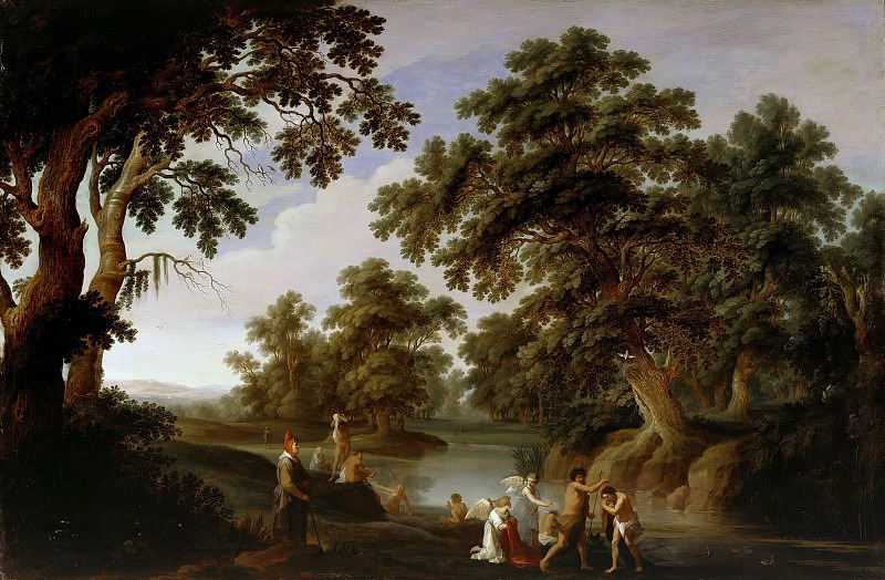 Alexander Keirincx (1600-1652) - Forest Landscape with the Baptism of Christ. Part 1
