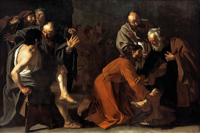 Dirck van Baburen (c.1595-1624) - The washing of feet of Christ. Part 1