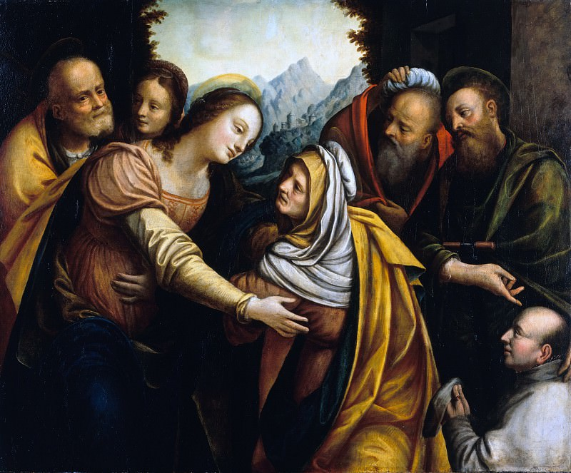 Bernardino Lanino (c.1510-after1583) - The Visitation of Mary with a donor, recommended by a saint. Part 1