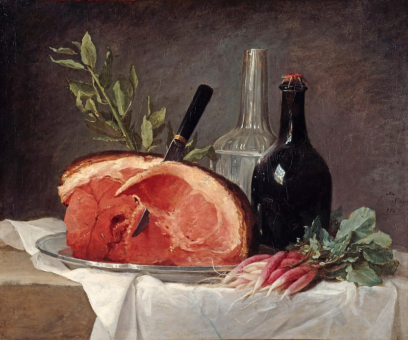 Anne Vallayer-Coster (1744-1818) - Still life with ham, bottles and radishes. Part 1