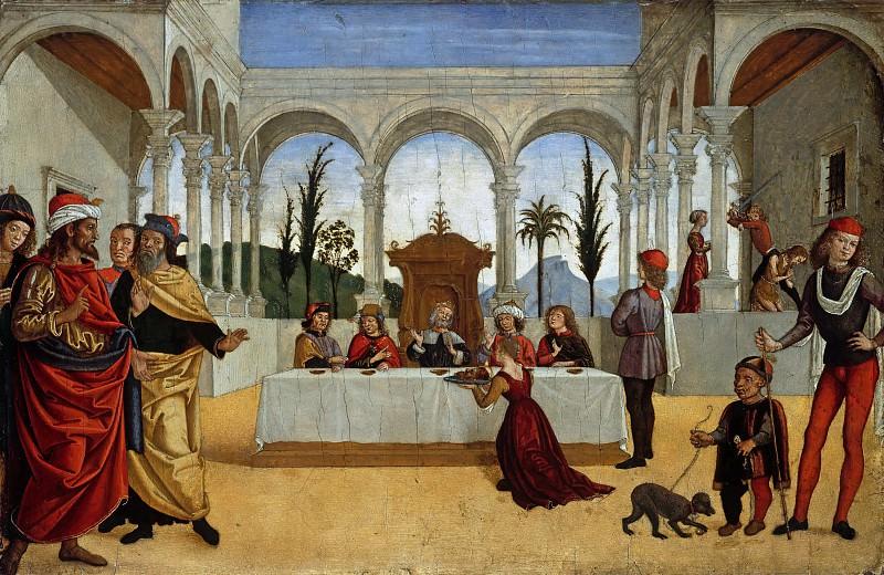 Antoniazzo Romano (1435-1508) - Salome brings Herod the head of John. Part 1