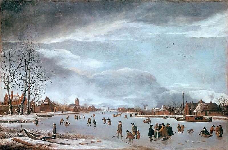 Anthonie Beerstraten (1637-1664) - Frozen river with skaters. Part 1