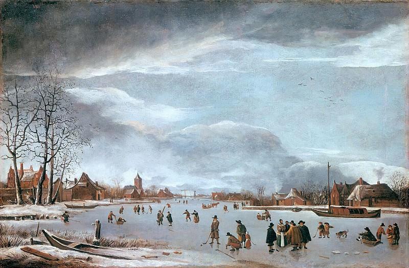 Берстратен, Антони (1637-1664) - Замерзшая река с конькобежцами. Часть 1