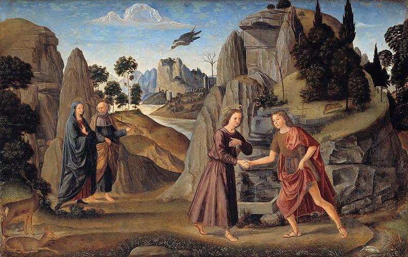 Гирландайо, Доменико (1449-1494) - Встреча молодых Иисуса Христа с Иоанном Крестителем. Часть 1