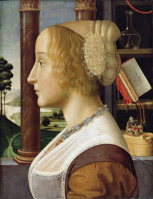 Davide Ghirlandaio (1452-1525) - Profile portrait of a young woman. Part 1