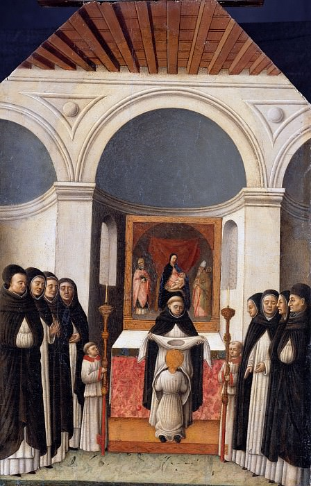 Antonio Vivarini (c.1415-1476) - The garb of the Holy entering the Dominican Order. Part 1