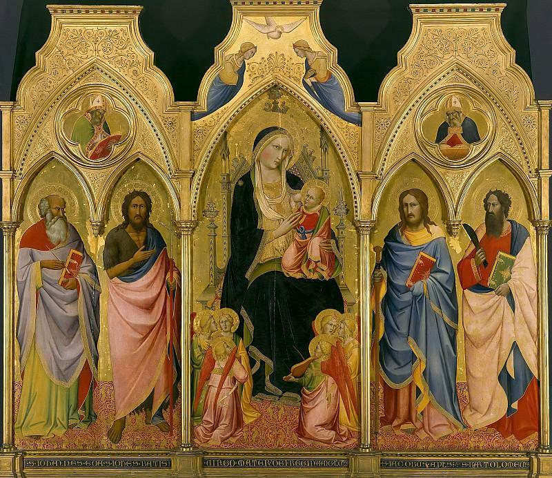 Гадди, Аньоло (c.1350-1396) - Триптих - Мадонна с Младенцем на троне в окружении ангелов и святых. Часть 1