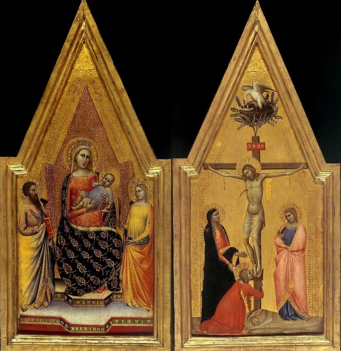 Allegretto Nuzi (c.1315-20-1373) - Enthroned The Virgin and Child and Two Saints and The Crucifixion. Part 1