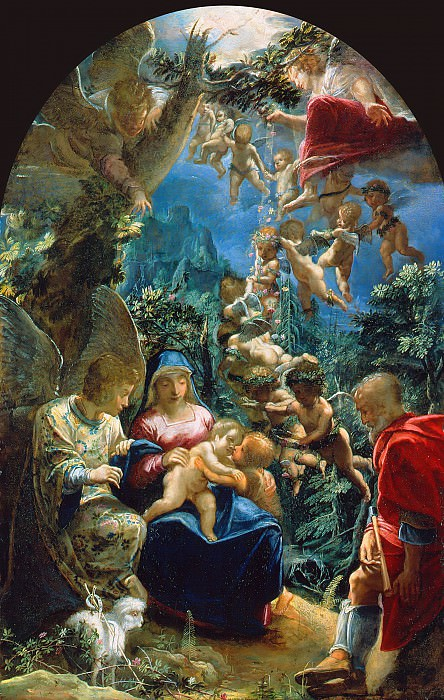 Adam Elsheimer (1578-1610) - The Holy Family with the Infant John the Baptist and Angels. Part 1