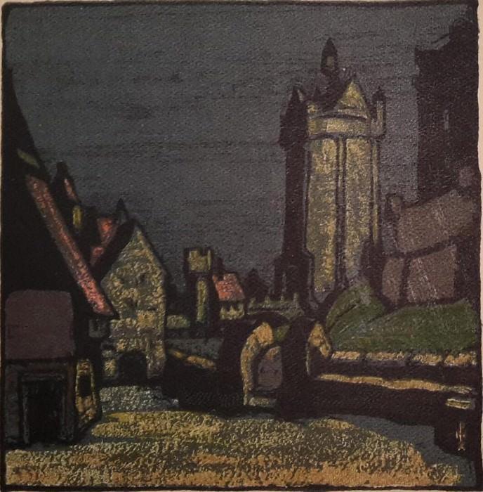 Старая Бельгия (Улица перед замком) (Вариант театрального эскиза для открытки). Рерих Н.К. (Часть 2)