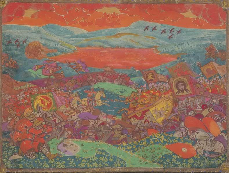 Battle of Kerzhenets (sketch). Roerich N.K. (Part 2)