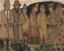 Crowd (Scene seven figures in costumes). Roerich N.K. (Part 2)