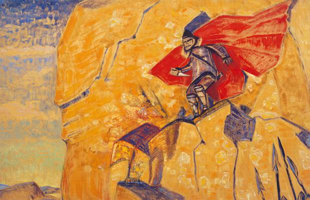 Warrior with a knife on a yellow background rock (NK Rerikhs and YN). Roerich N.K. (Part 2)